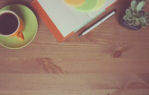 Coffee, Notebook, Wooden, Orange, Work, Table, Creative